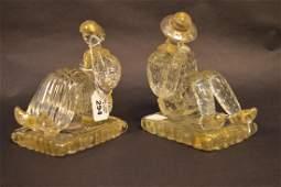 Pair Murano figural bookends 6 12hx  5w