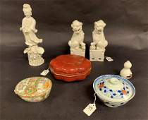 7 Chinese Porcelain Articles  Pair Blanc de Chine Foo