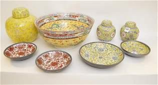 Lot of Chinese ceramics, yellow bowl, 2 yellow ginger