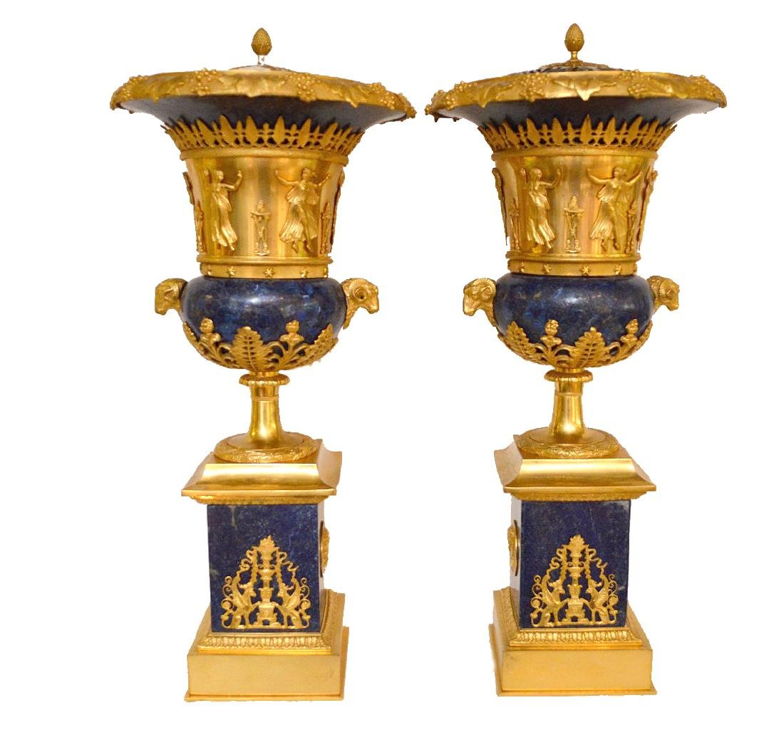 PAIR FRENCH GILT BRONZE & LAPIS URNS with figural rams