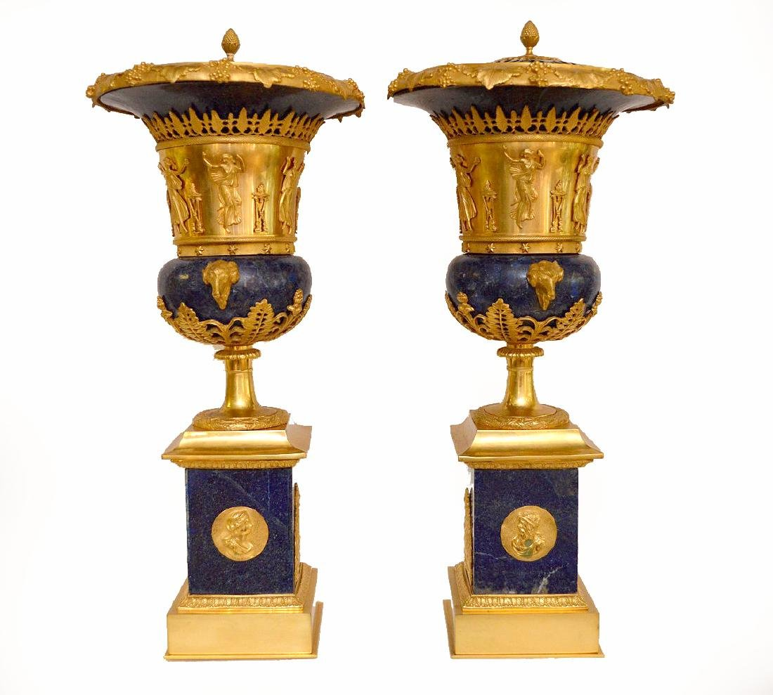 PAIR FRENCH GILT BRONZE & LAPIS URNS with figural rams - 2