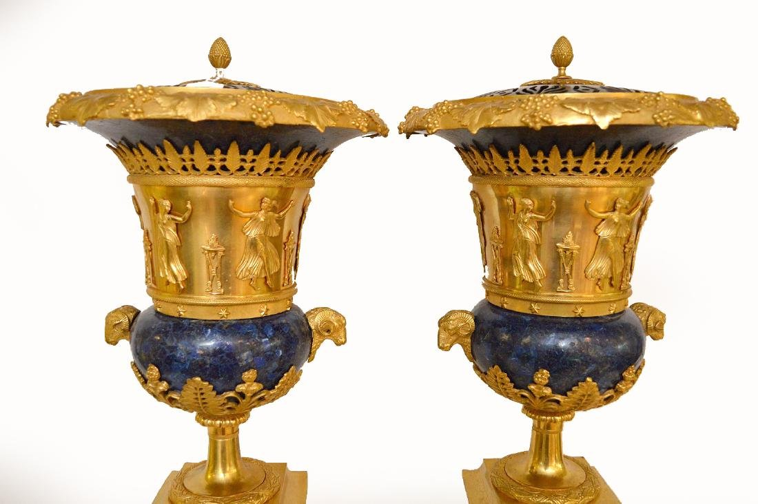 PAIR FRENCH GILT BRONZE & LAPIS URNS with figural rams - 3