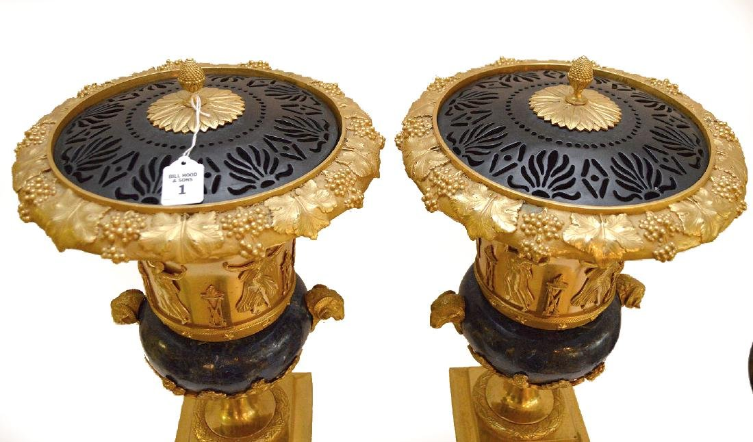 PAIR FRENCH GILT BRONZE & LAPIS URNS with figural rams - 4