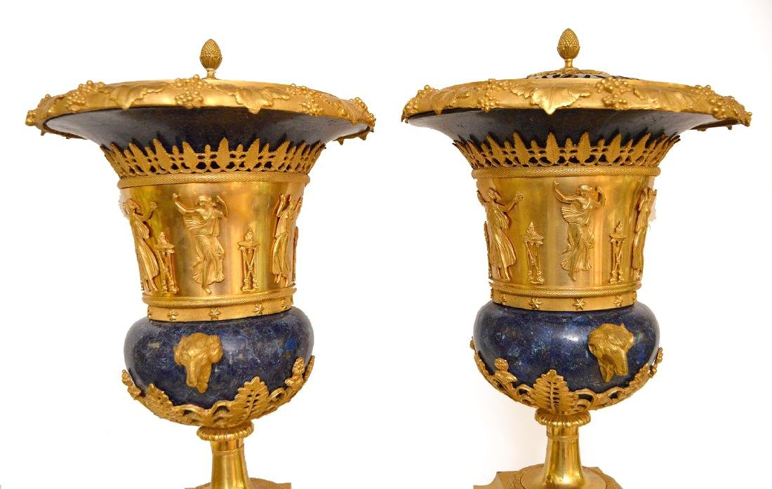 PAIR FRENCH GILT BRONZE & LAPIS URNS with figural rams - 5