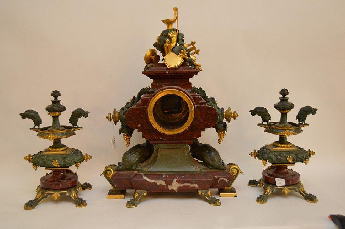 3 Piece Marble Patinated & Gilt Bronze Clock Garniture. - 10