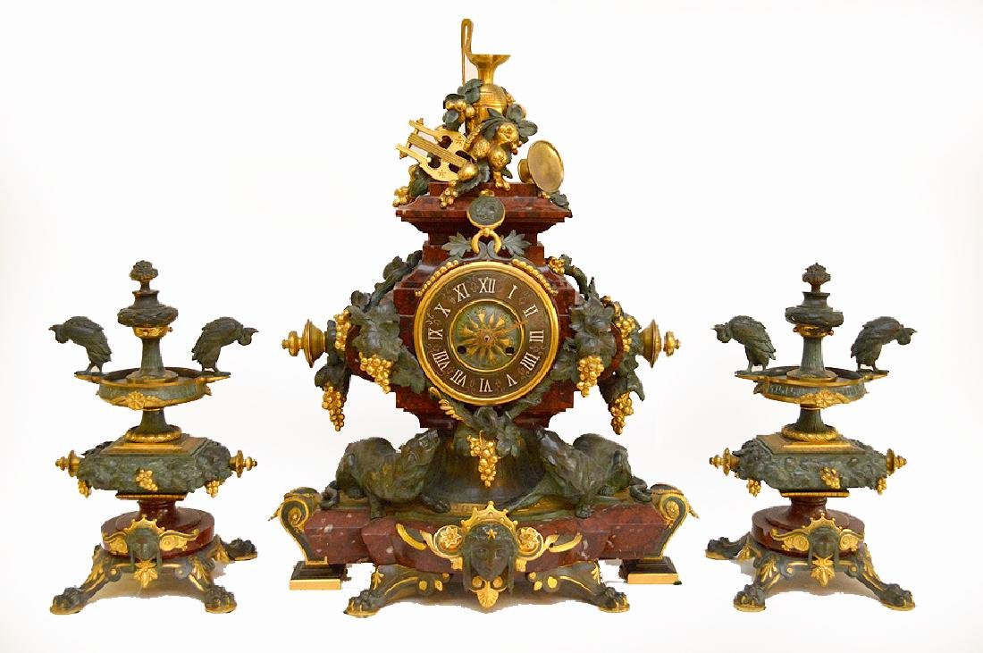 3 Piece Marble Patinated & Gilt Bronze Clock Garniture.