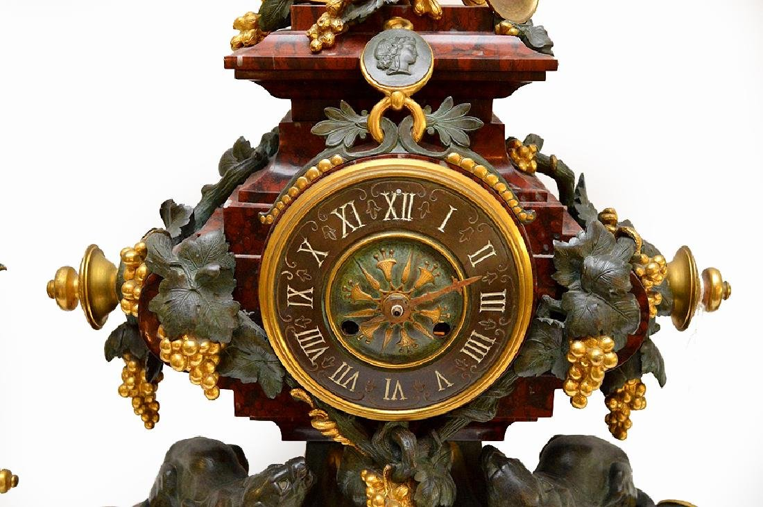 3 Piece Marble Patinated & Gilt Bronze Clock Garniture. - 3