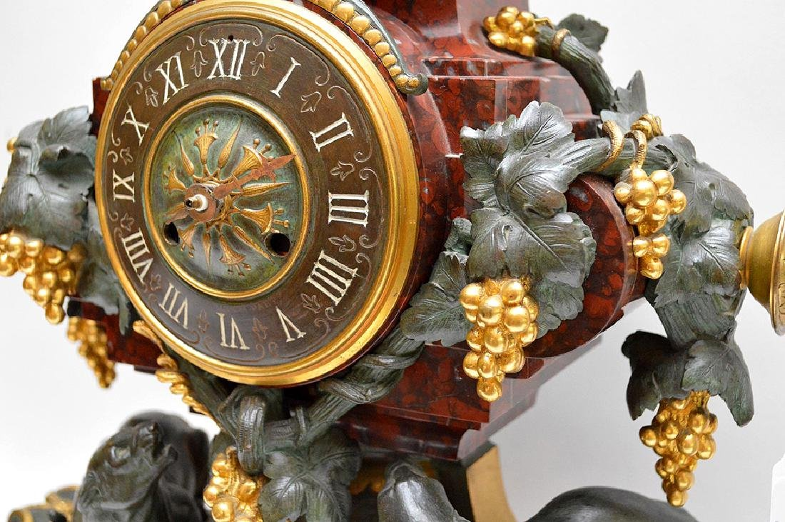 3 Piece Marble Patinated & Gilt Bronze Clock Garniture. - 4