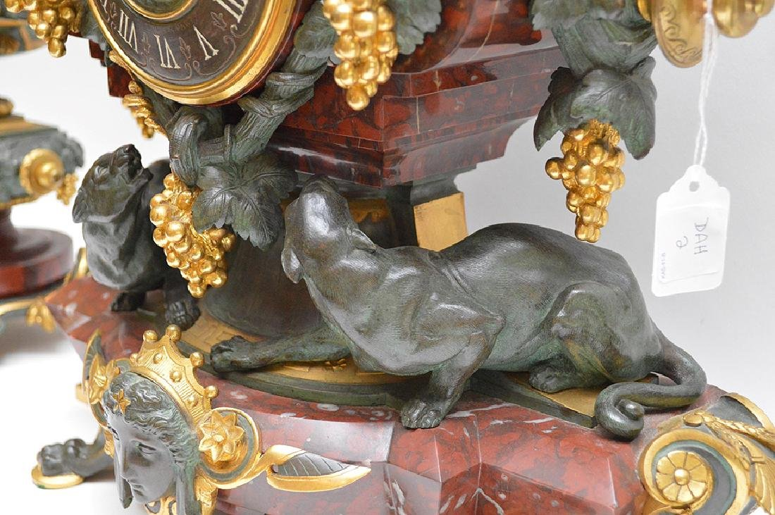 3 Piece Marble Patinated & Gilt Bronze Clock Garniture. - 6