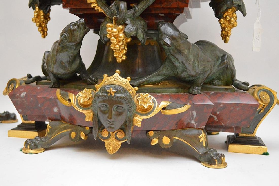 3 Piece Marble Patinated & Gilt Bronze Clock Garniture. - 7