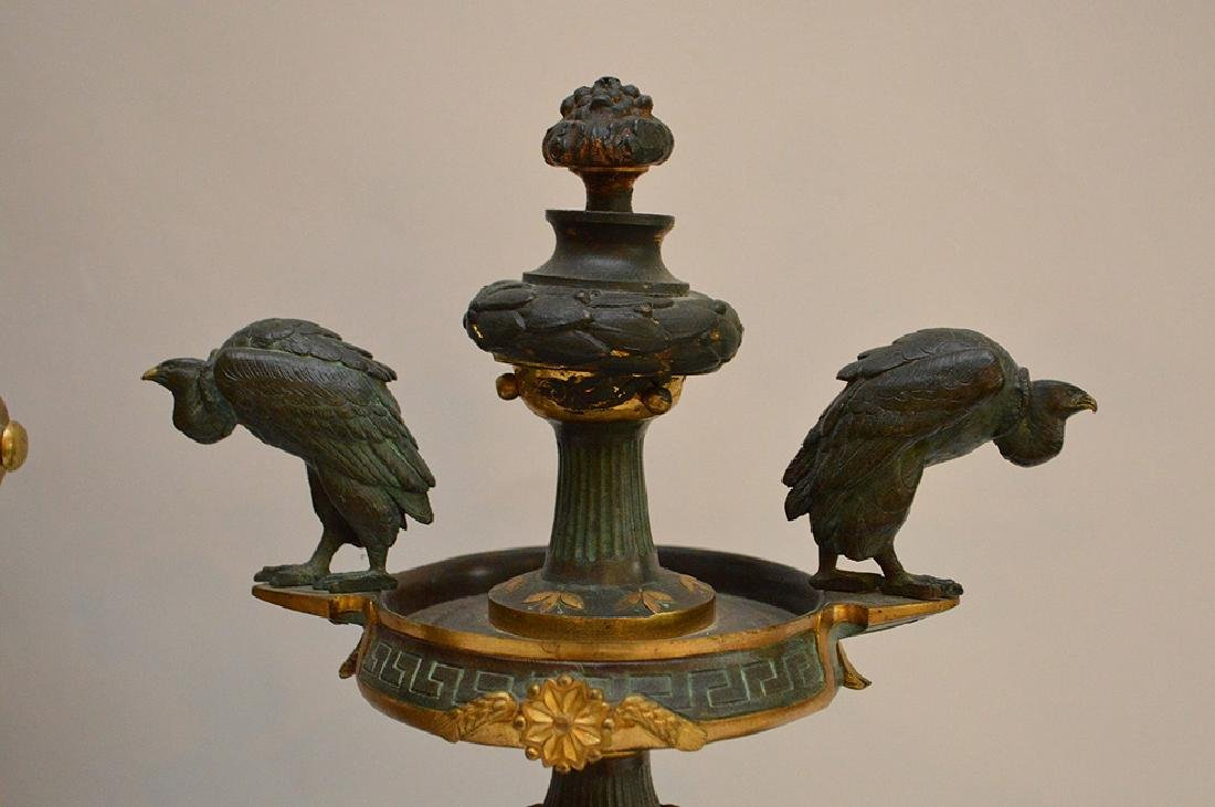 3 Piece Marble Patinated & Gilt Bronze Clock Garniture. - 8