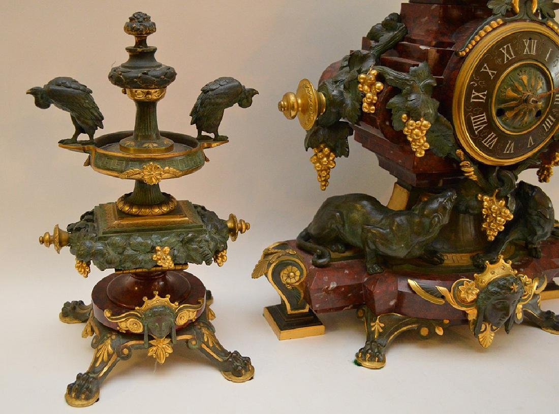 3 Piece Marble Patinated & Gilt Bronze Clock Garniture. - 9