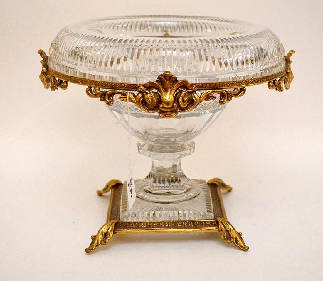 Baccarat Crystal & Gilt Bronze Center Bowl.  Condition: