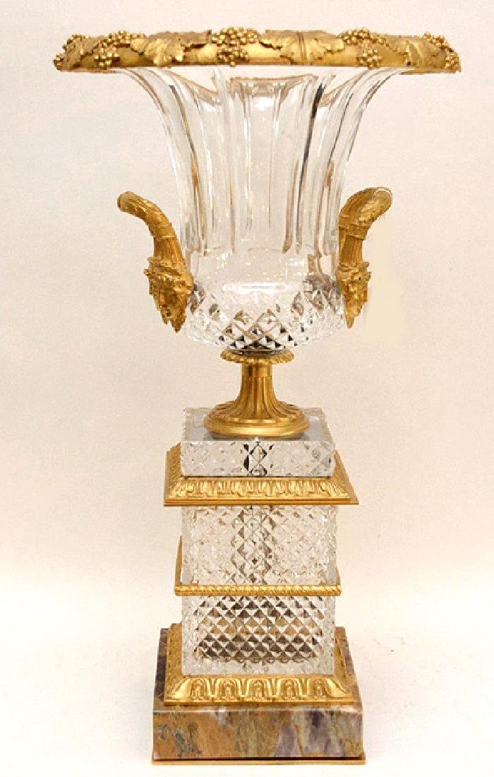 Large French Gilt Bronze & Crystal Urn with marble