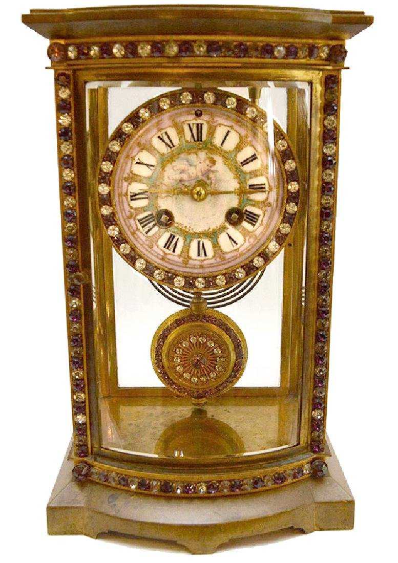 French  bronze and crystal regulator clock with hand