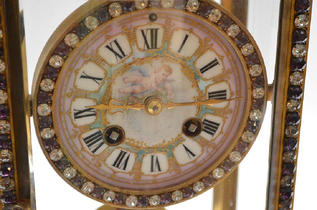 French  bronze and crystal regulator clock with hand - 2