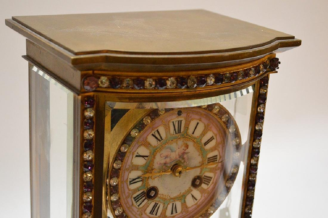 French  bronze and crystal regulator clock with hand - 3