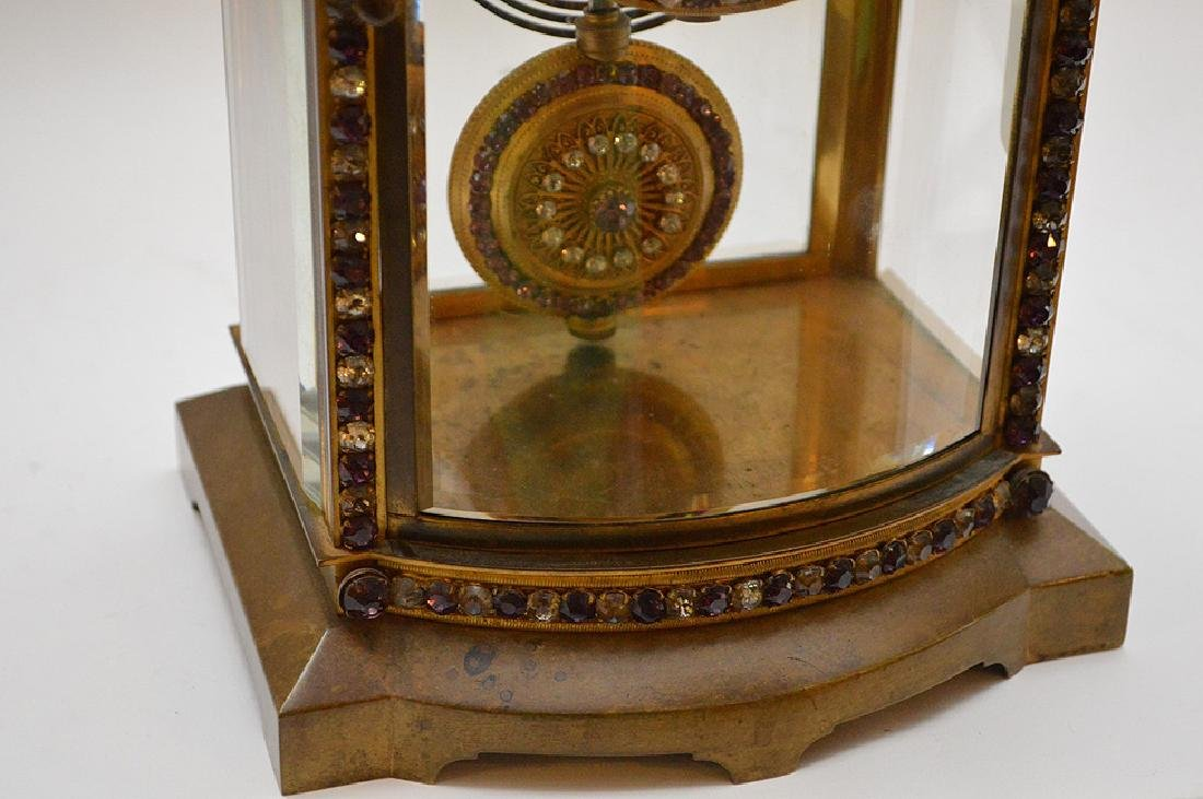 French  bronze and crystal regulator clock with hand - 4