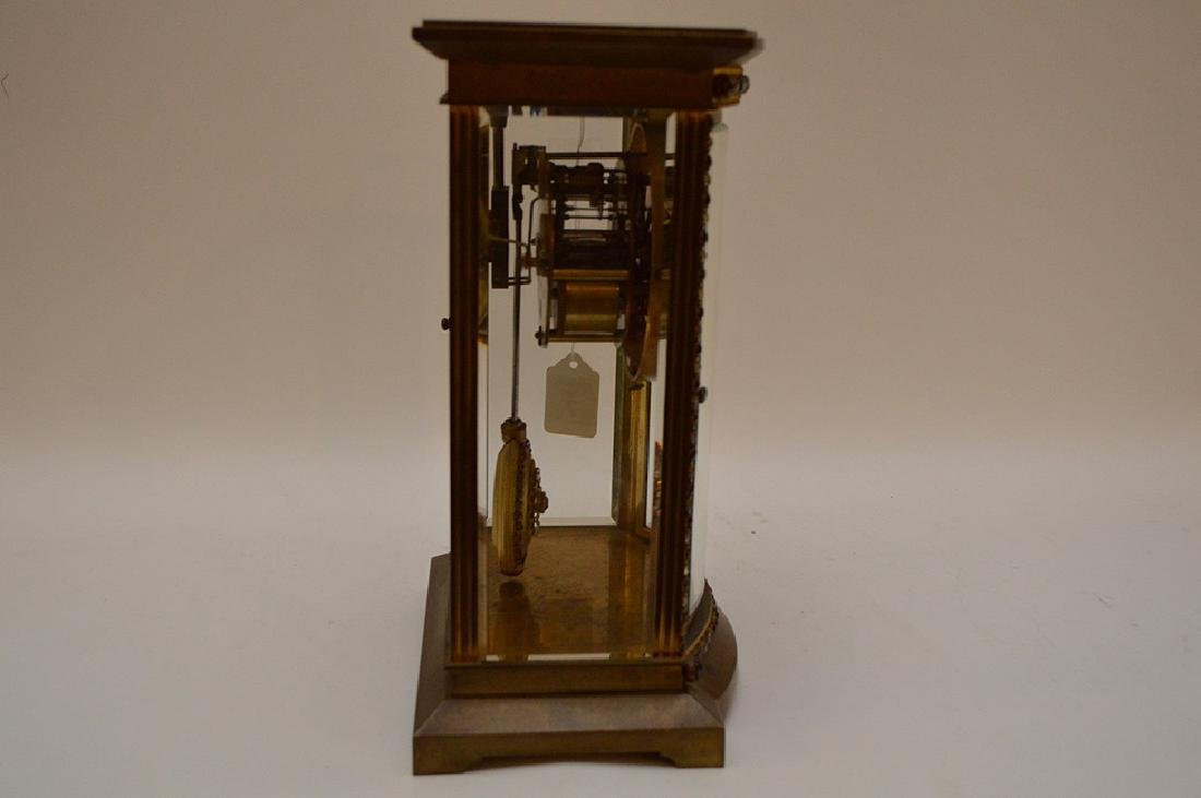 French  bronze and crystal regulator clock with hand - 5