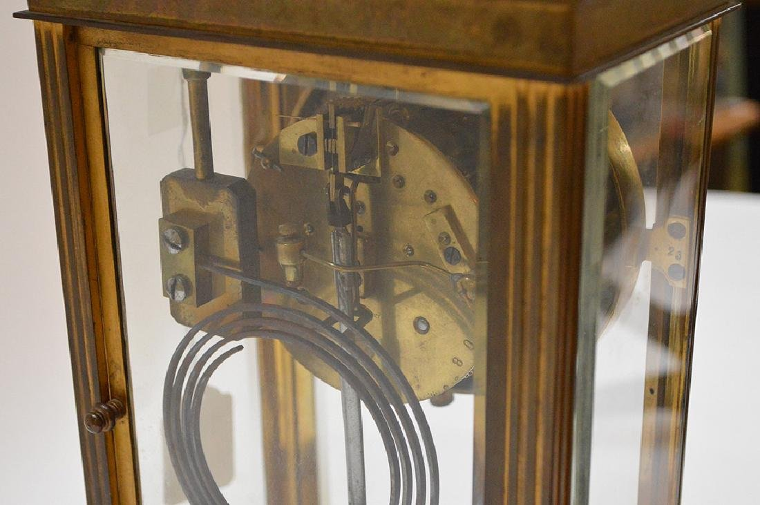 French  bronze and crystal regulator clock with hand - 6