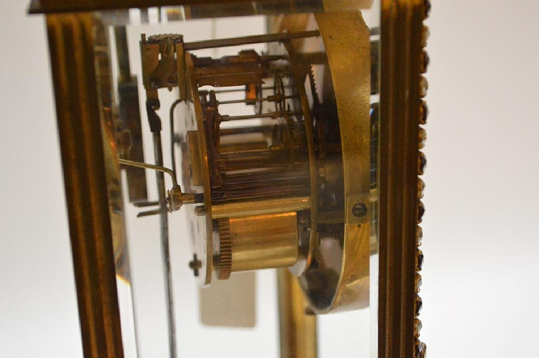 French  bronze and crystal regulator clock with hand - 7