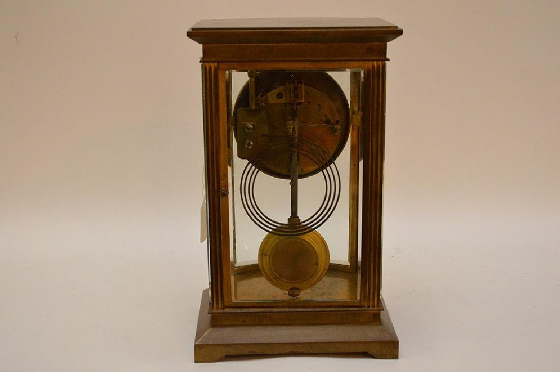 French  bronze and crystal regulator clock with hand - 8