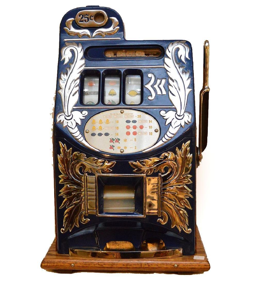 Enameled Metal & Oak Slot Machine Bell & Fruit