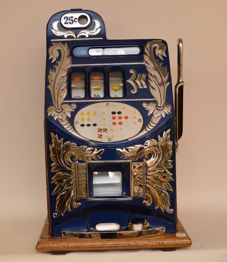 Enameled Metal & Oak Slot Machine Bell & Fruit - 2