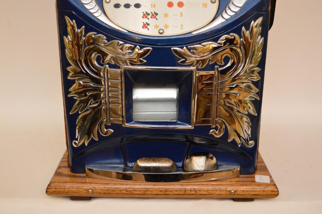 Enameled Metal & Oak Slot Machine Bell & Fruit - 3