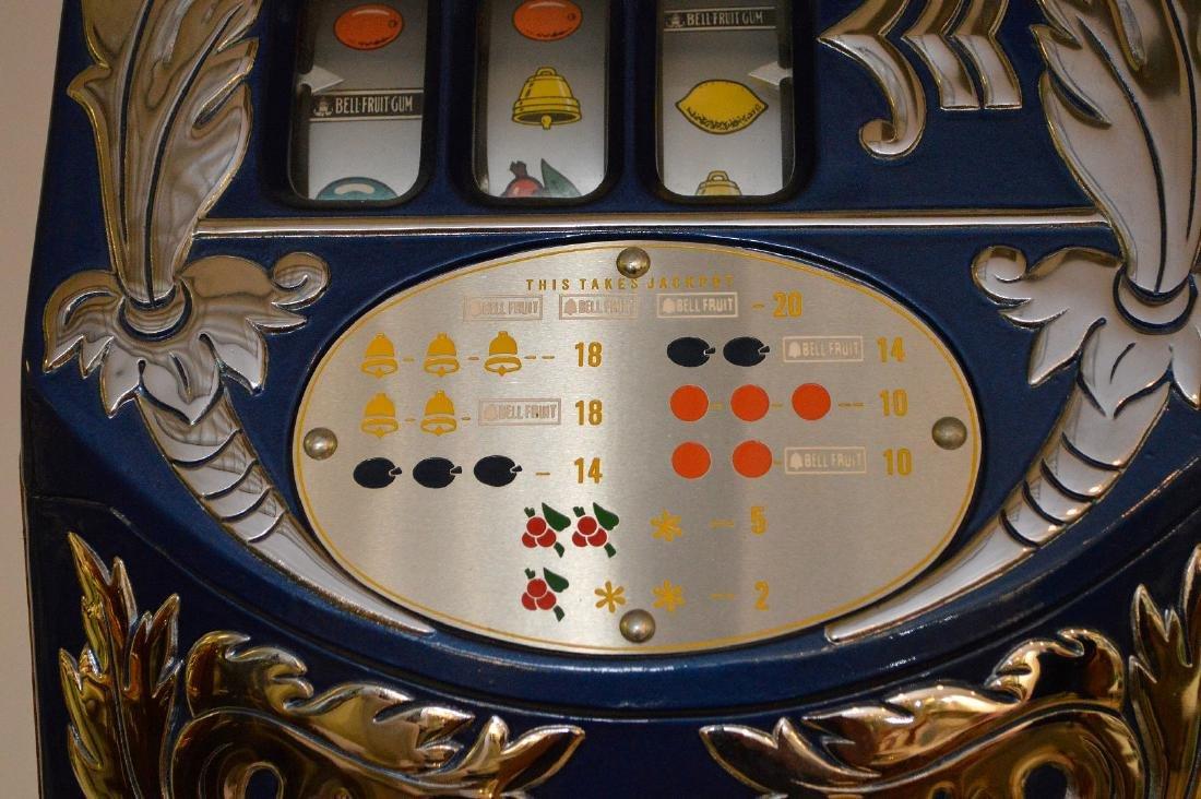Enameled Metal & Oak Slot Machine Bell & Fruit - 4