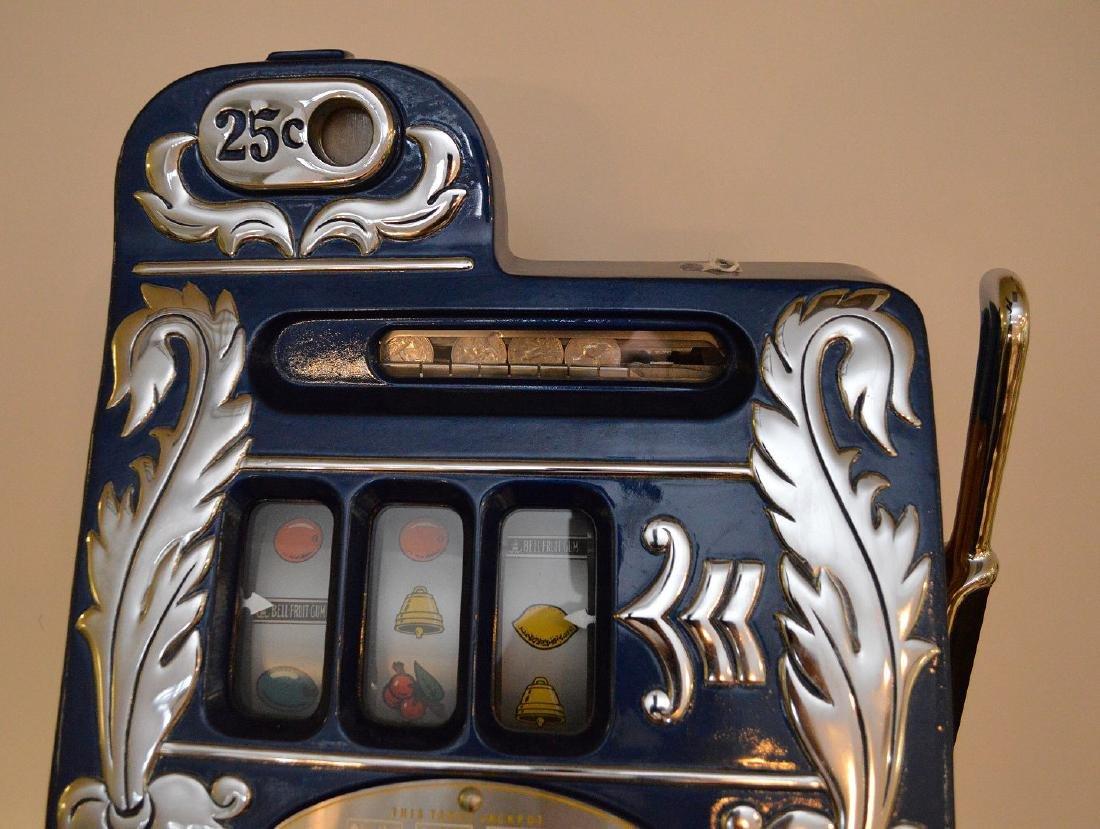 Enameled Metal & Oak Slot Machine Bell & Fruit - 5