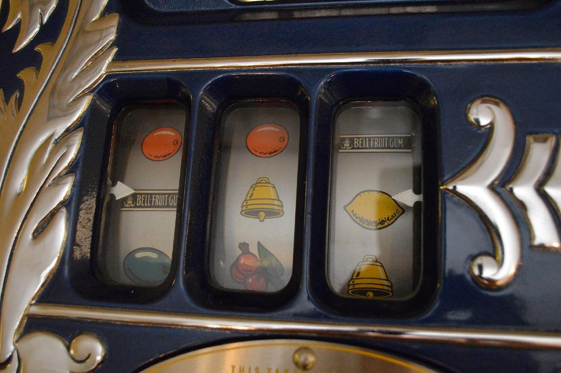 Enameled Metal & Oak Slot Machine Bell & Fruit - 6