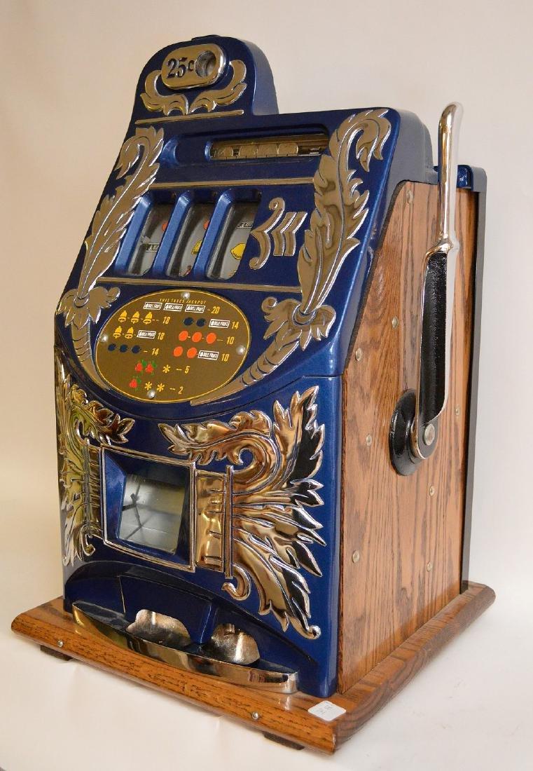 Enameled Metal & Oak Slot Machine Bell & Fruit - 8
