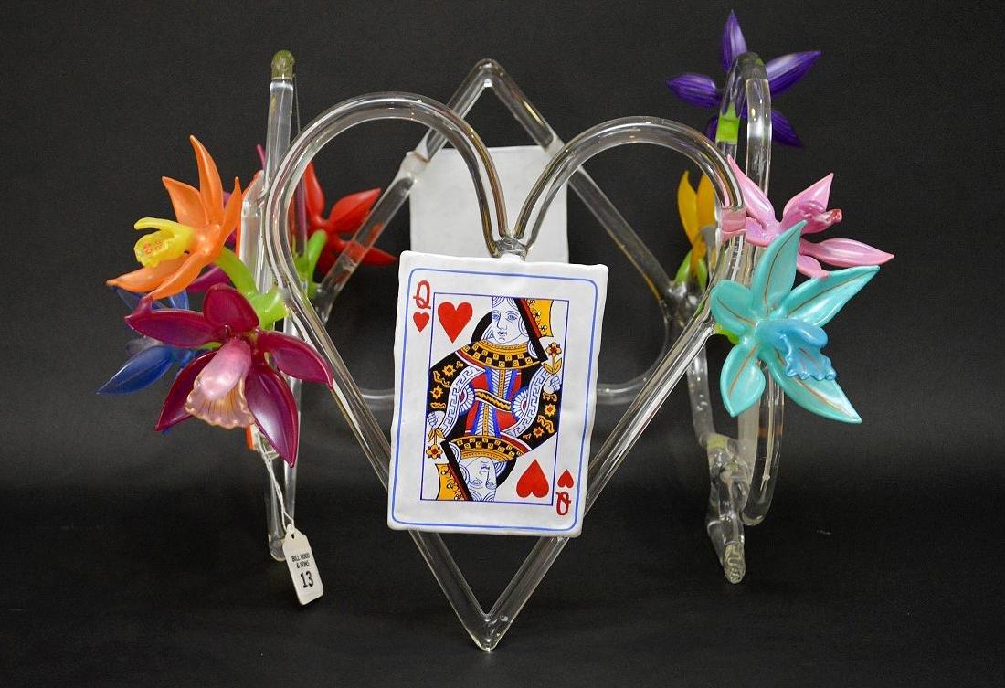 """Ginny Ruffner Glass """"High Five 4 The Queen"""" Sculpture."""