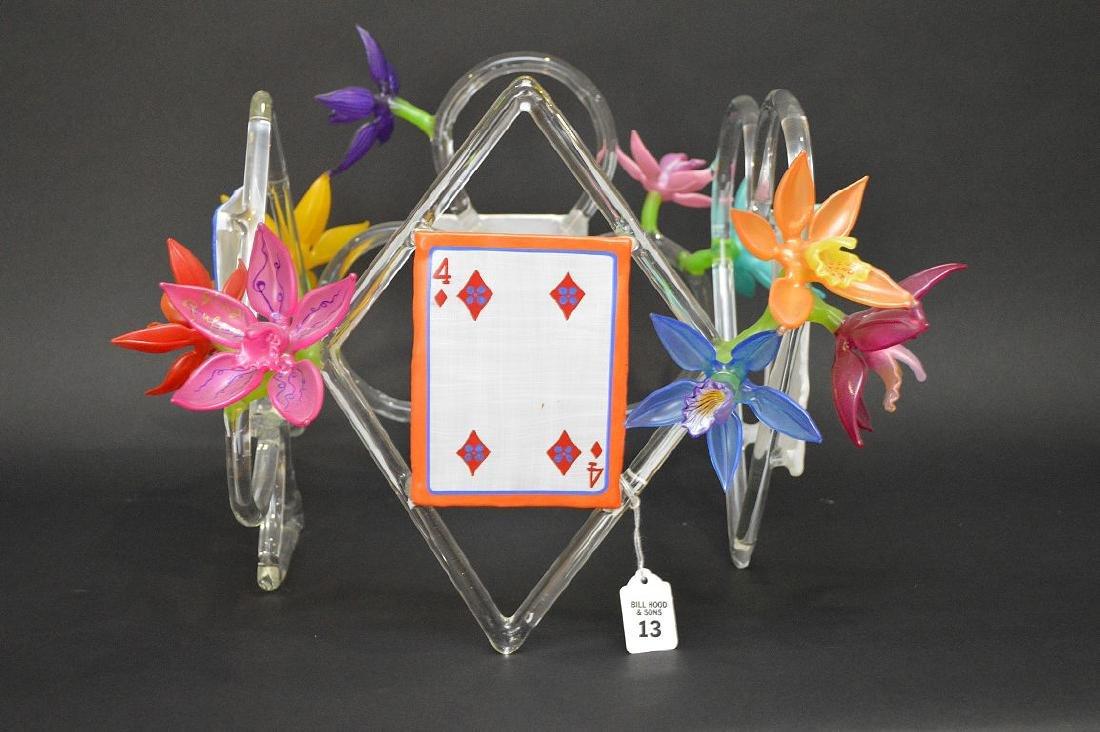 """Ginny Ruffner Glass """"High Five 4 The Queen"""" Sculpture. - 4"""