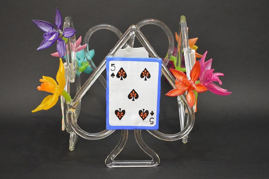 """Ginny Ruffner Glass """"High Five 4 The Queen"""" Sculpture. - 5"""