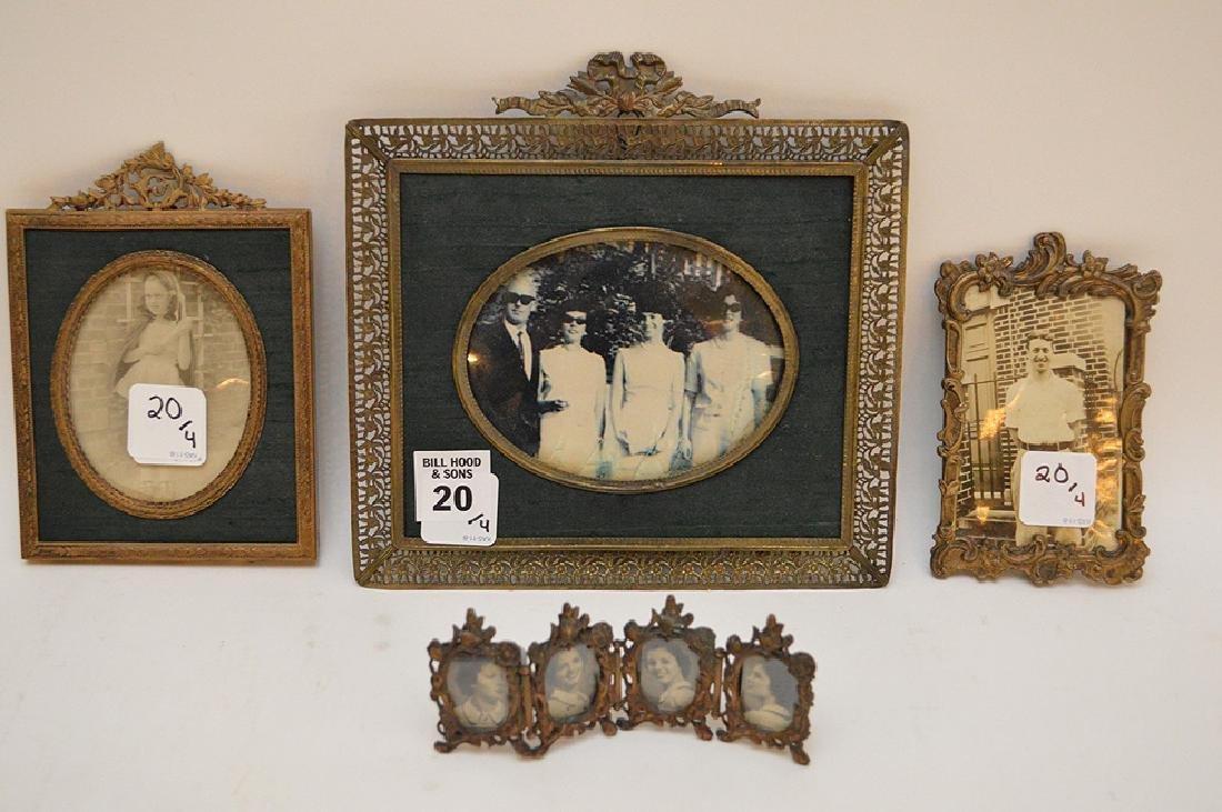 """Lot 4 Antique Gilt Metal Picture Frames.  Largest 7"""" x"""