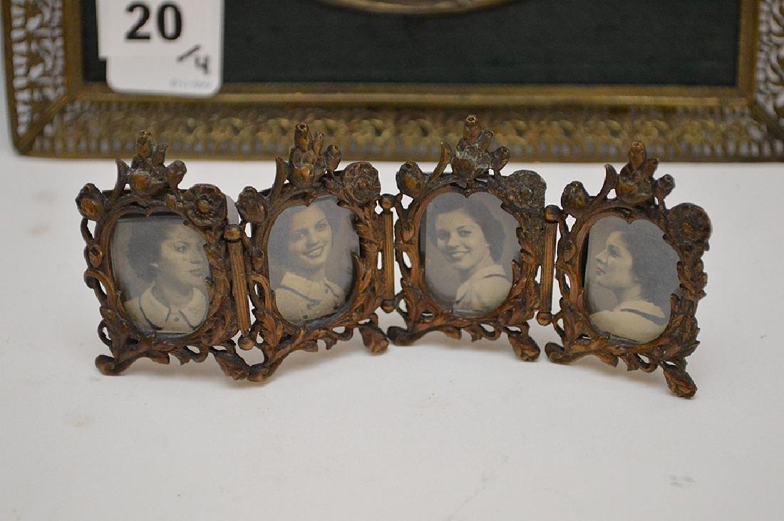"""Lot 4 Antique Gilt Metal Picture Frames.  Largest 7"""" x - 2"""