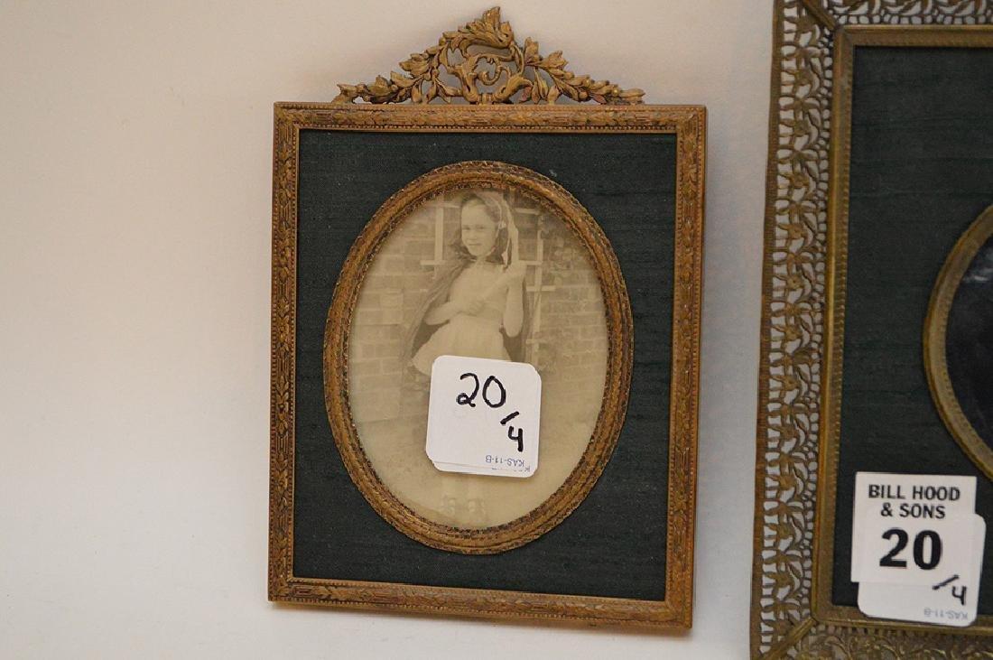 """Lot 4 Antique Gilt Metal Picture Frames.  Largest 7"""" x - 3"""