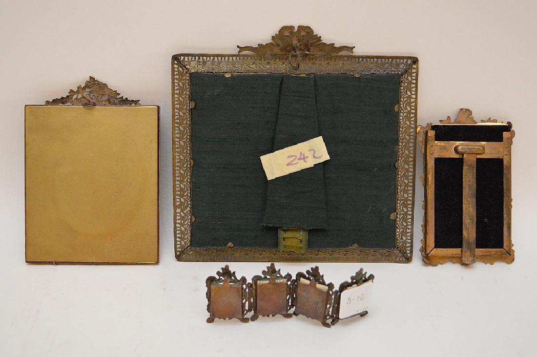 """Lot 4 Antique Gilt Metal Picture Frames.  Largest 7"""" x - 5"""