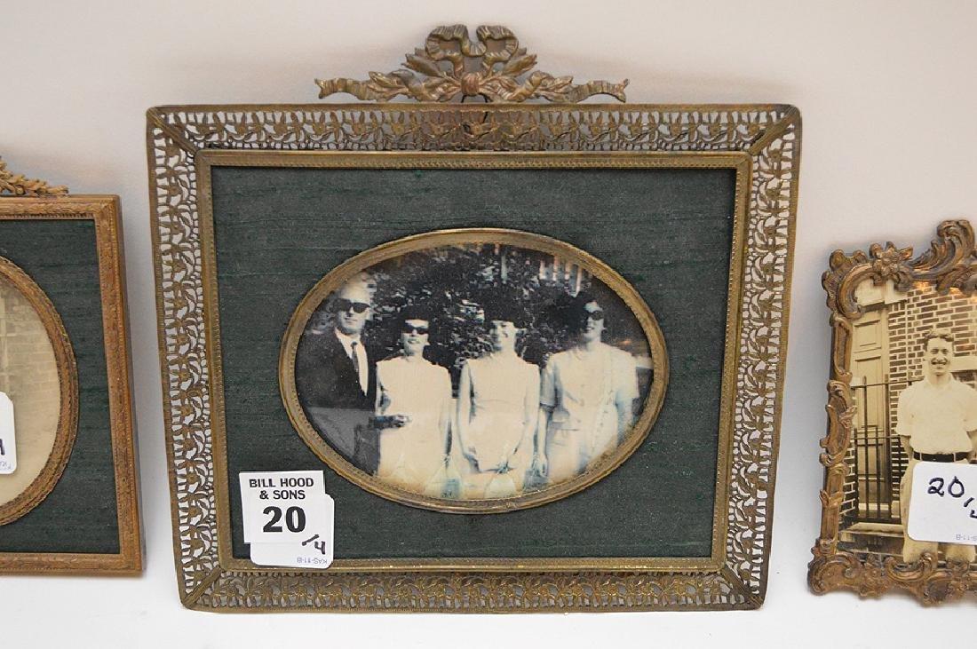 """Lot 4 Antique Gilt Metal Picture Frames.  Largest 7"""" x - 8"""