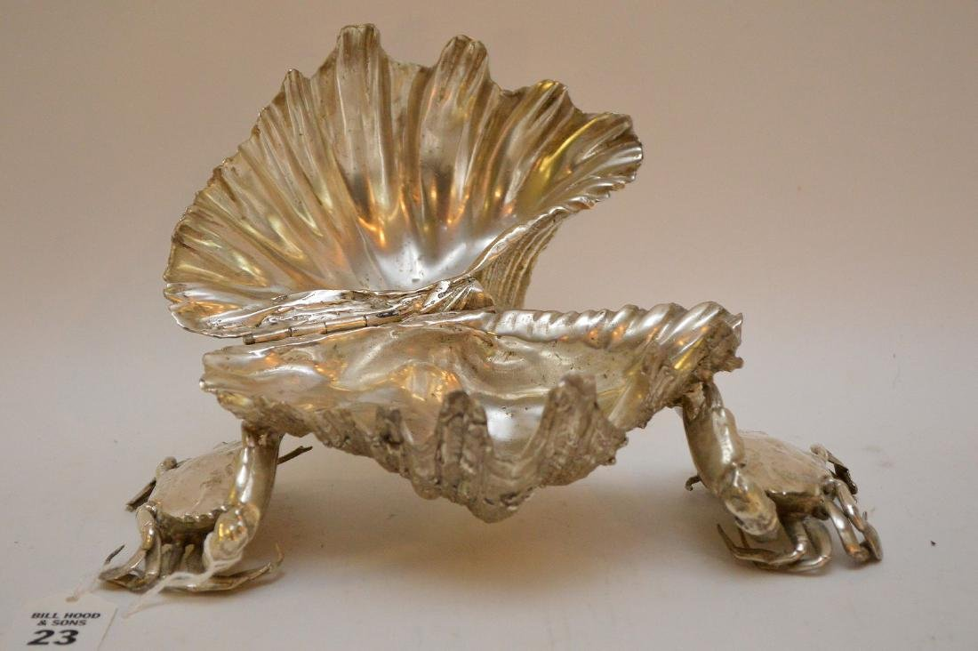 Silvered Bronze Clam Shell & Crab Group. Condition: - 2