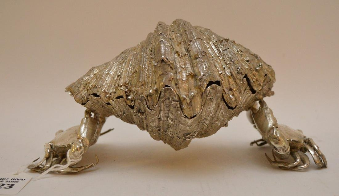Silvered Bronze Clam Shell & Crab Group. Condition: - 3