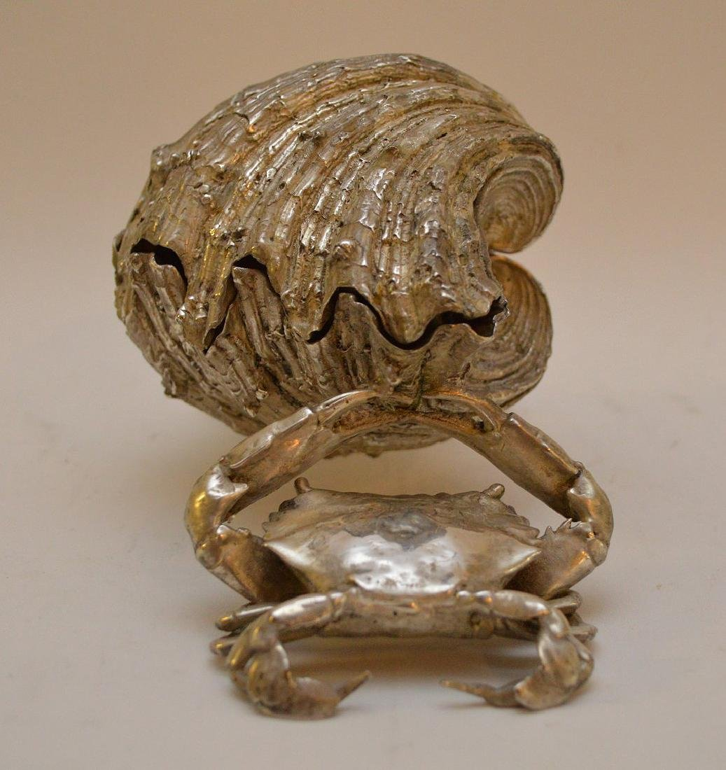 Silvered Bronze Clam Shell & Crab Group. Condition: - 4
