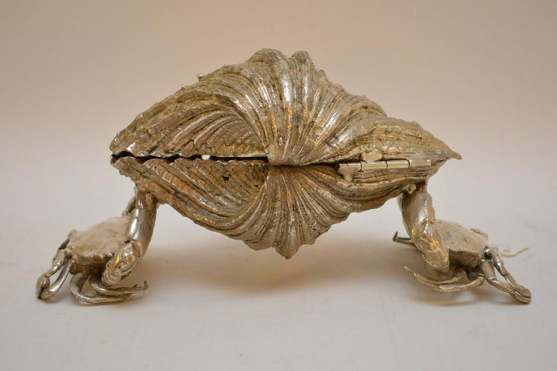 Silvered Bronze Clam Shell & Crab Group. Condition: - 5