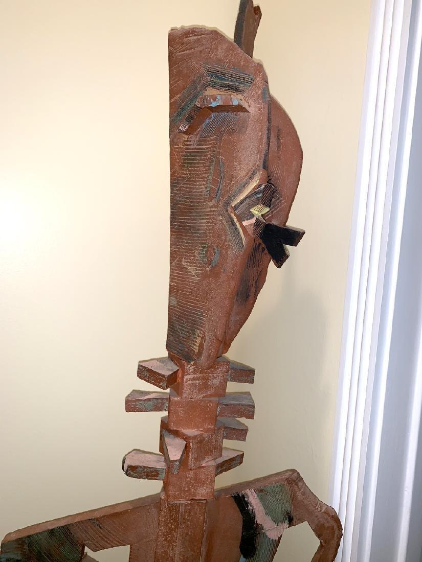 Moderist Terra Cotta Totem Pole Sculpture on a - 3