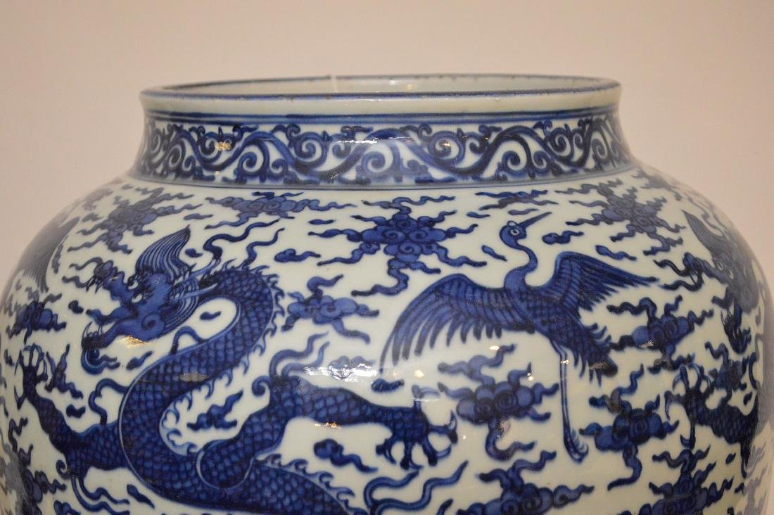 Large Chinese Porcealin Pot with blue dragon decoration - 6