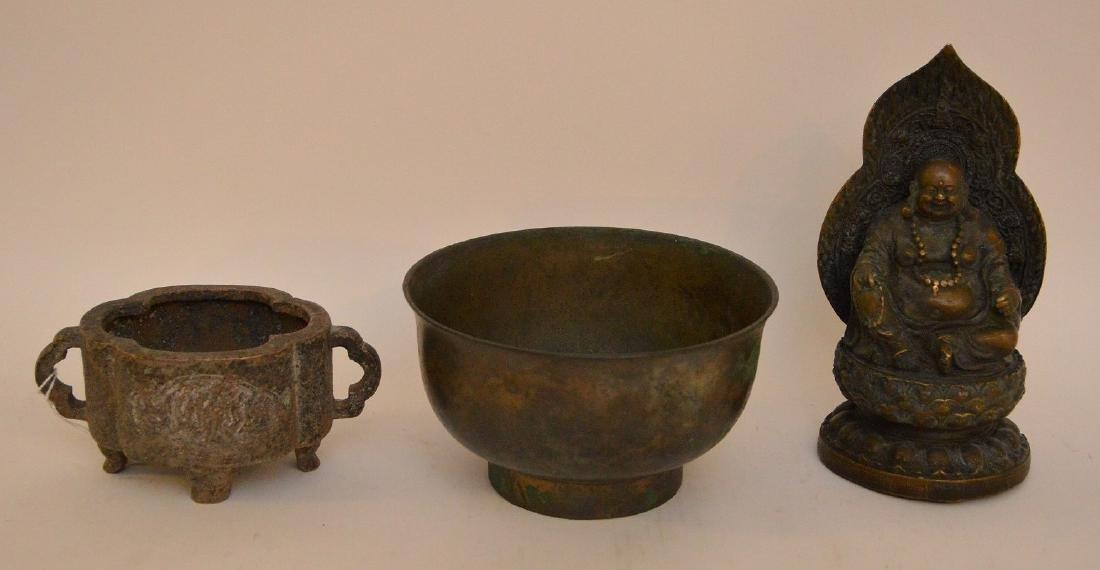 3 Asian Metal Articles.  Chinese Bronze Brush Pot Ht 2