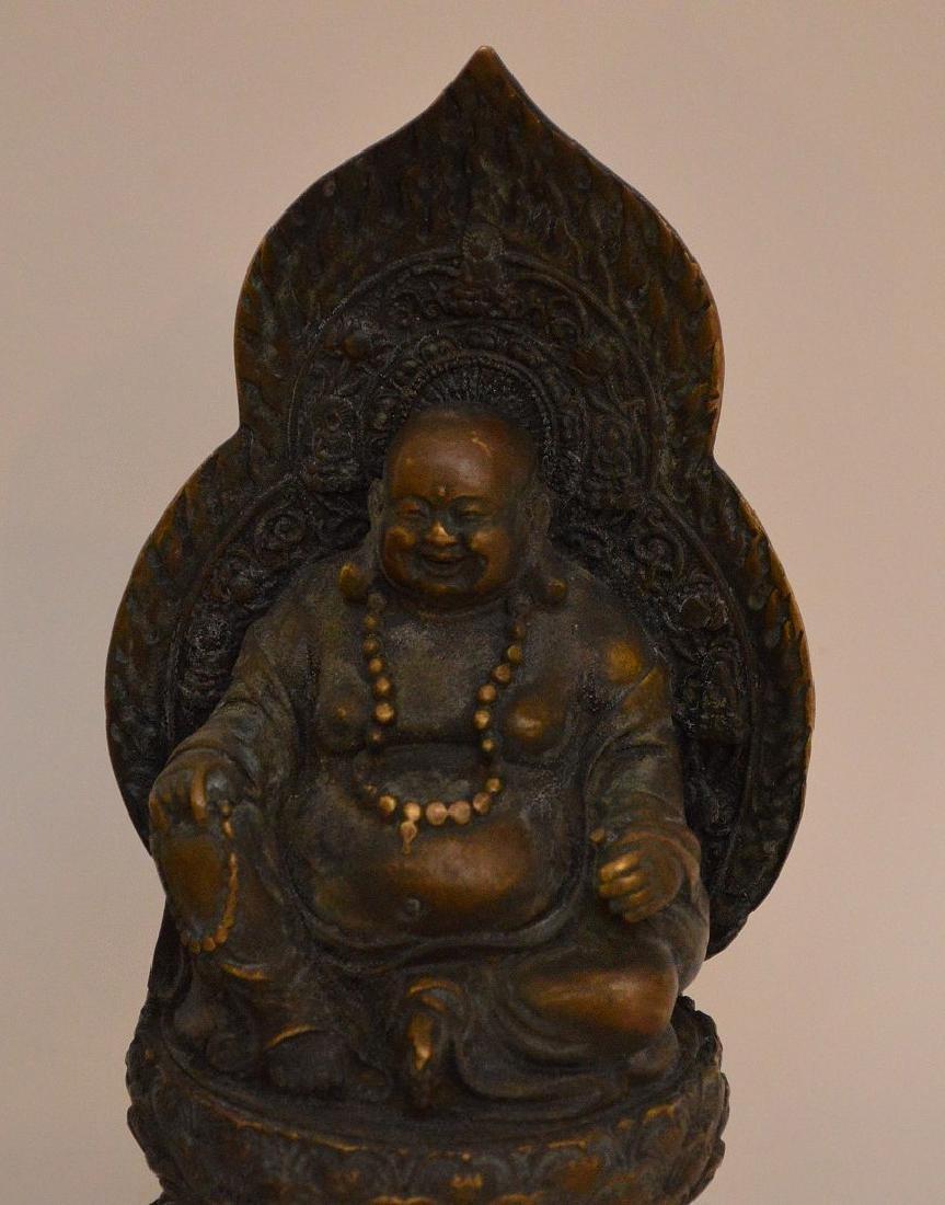 3 Asian Metal Articles.  Chinese Bronze Brush Pot Ht 2 - 2