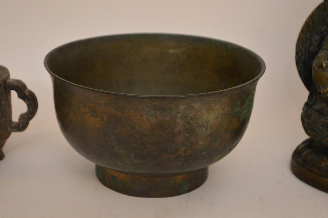 3 Asian Metal Articles.  Chinese Bronze Brush Pot Ht 2 - 3
